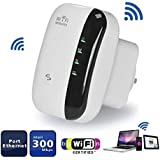 WissBule WiFi Range Extender Wireless Repeater Signal Booster Amplifier 300Mbps Wireless N Mini AP Access Point 2.4GHz Network Band With Gigabit Port High Gain Antenna Complies IEEE 802.11b/g/n