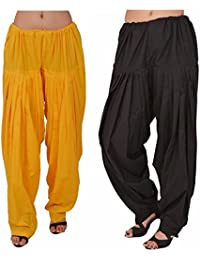 Fashion Store Women Cotton Patiala Salwar Combo Of 2 (Free Size,Yellow & Black )