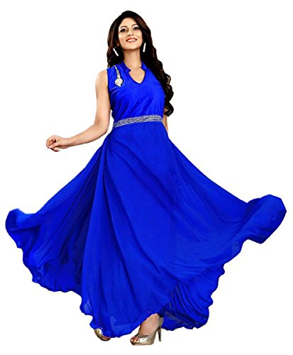 FenaPrime Women\'s Blue Georgette Anarkali Dress Material GFP1119