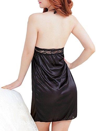 Dissa® Sexy Halter See through Nuisettes Lingerie, noir Noir