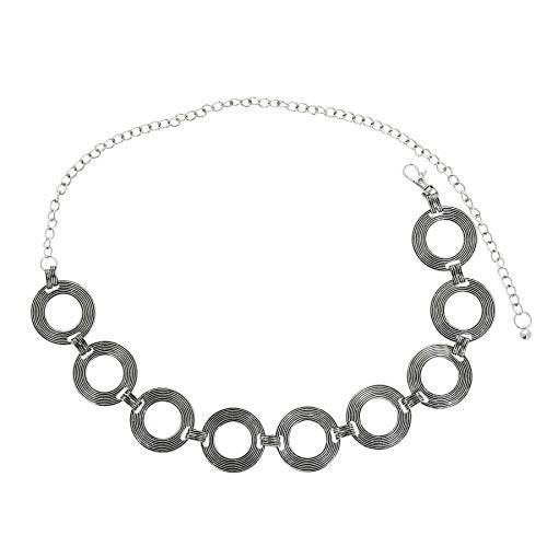 FASHIONGEN - Cinturón de cadenas para mujer, metal, ajustable, THELMA - Plateado, Talla única