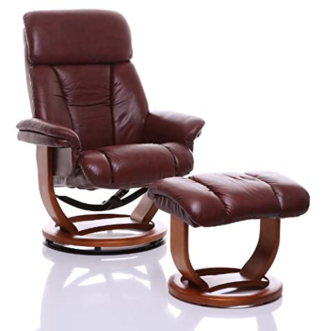 The Saigon - Genuine Leather Recliner Swivel Chair & Matching