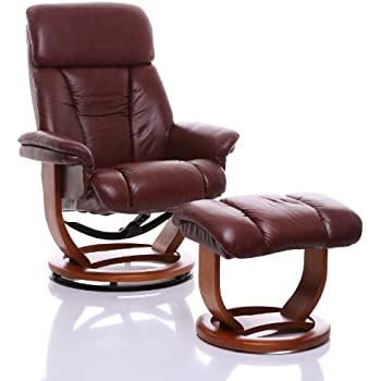 Exceptionnel The Saigon   Genuine Leather Recliner Swivel Chair U0026 Matching Footstool In  Chestnut
