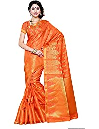 Mimosa Women's Art Silk Zari Work Saree With Blouse Piece - 193-SD-ORG_Orange And Gold_Free Size