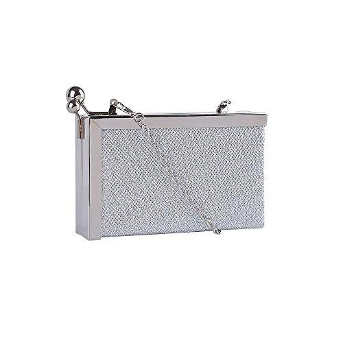 Haute For Diva S Nuovo Hard Shell Metal Box Glitter Shimmer Da Donna Portafedi Da Sera Con Pochette Da Sera - Blu Navy, Piccolo Argento