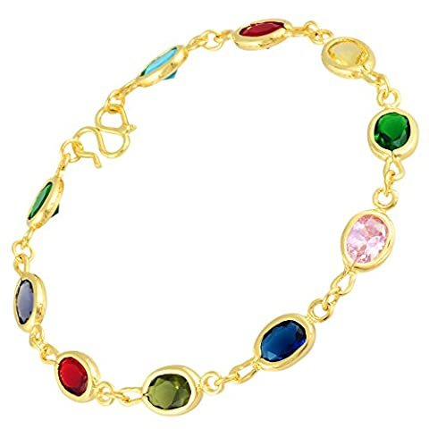 Riva Schmuck Hochzeit 18K Gelbgold Vergoldet Oval Zirkonia Mehrfarbig Tennis Armband