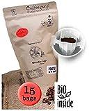 Life is You! Coffee Bags | (BIO) Tunkimayo Kaffee aus den Terrassen-Plantagen an den Hängen der Anden in Peru - handverlesen gepflückt | 15 Coffee Bags (für Becher) | in verschließbarer Zipptüte - 100% Arabica - frisch & schonend handgeröster Filterkaffee