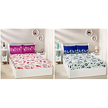 Amazon Brand - Solimo Jasmine Zest 144 TC 100% Cotton Double Bedsheet with 2 Pillow Covers, Blue + Lily Bloom 144 TC 100% Cotton Double Bedsheet with 2 Pillow Covers, Pink Combo