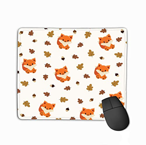 Family Mouse Pad,Standard Size Rectangle Non-Slip Rubber Mousepad 11.81 X 9.84 Inch Baby Fox Wallpaper Leaves Acorns Perfect Acorn Leaf