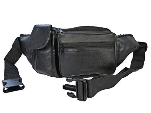 Roamlite Extra Large Bumbag - Leather XL Bum Bag - 34 to 52 Inch Waist - 6 Pockets - Phone Pocket - Holidays, Travel, Festivals - 24 cm Black - RL276K