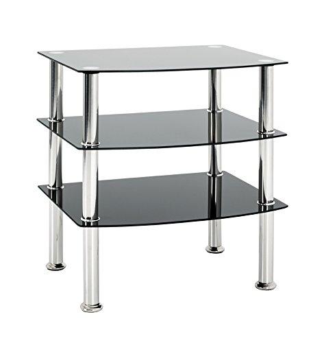 Haku-Möbel 15509 Beistelltisch, Glas 5mm, Edelstahl-schwarz, 54 x 45 x 61