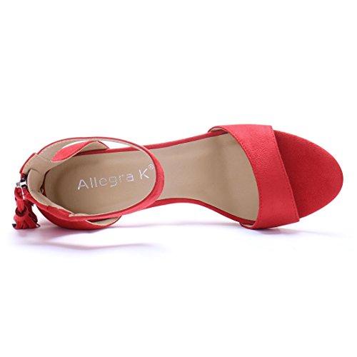 Allegra K Donne grosso tacco alto fiocco cinturino alla caviglia sandali US Nero 9 Red