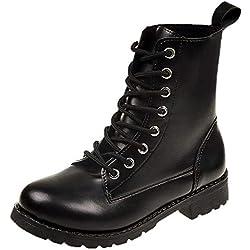 36094c71 MEIbax Moda Casual Zapatos Invierno Botas de Nieve Mujer Militares de  Unisex Adulto Cuero Impermeables Botines