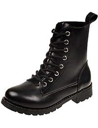 Botas Militares de Mujer Adulto,Mujer Ronda Toe Zapatos de Cuero Botas Planas Encaje Ankle Botas Zapatos de Ocio