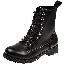 MEIbax Moda Casual Zapatos Invierno Botas de Nieve Mujer Militares de Unisex Adulto Cuero Impermeables Botines
