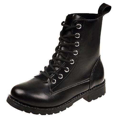 Dragon868 scarpe donna pelle, stivali ragazza nero lace-up rock suola in gomma scarpe basse 36-42 invernali