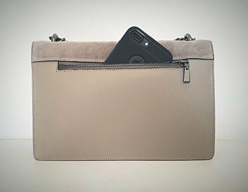 RONDA Umhängetasche Handtasche mit Kette und Schließen von Zubehör metallischen dunklem Nickel, Glatteleder und Wildleder, Hergestellt in Italien Oliv Grün