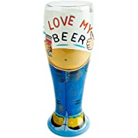 Lolita Beer Belly Pilsner Glass 22.9oz / 650ml | 65cl Hand Painted Beer Glass, Love My Beer Glass - Gift Boxed - Love Beer