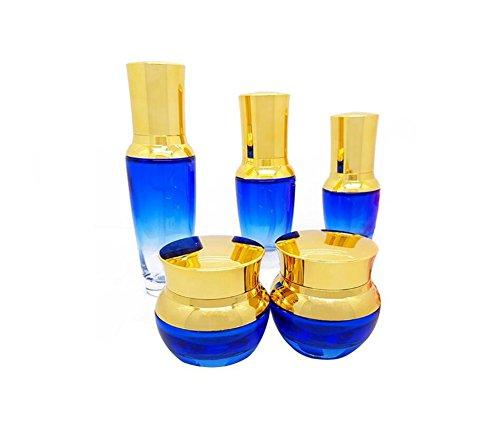 1PCS Leere Nachfüllbaren Blauen Glas Creme Fläschchen Verpackung Flasche mit Gold Deckel und Innen Pad Kosmetik Make-Up Jar Topf Lidschatten Emulsion Vorratsbehälter (30ml / 1oz Pump flasche)
