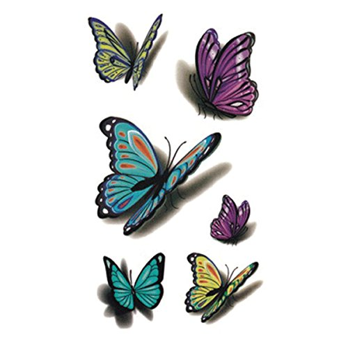 Wyuen 5fogli farfalla donne body art tattoo sticker for men falso impermeabile tatuaggio temporaneo nuovo design 9.8x 6cm a-034