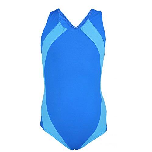 Aquarti Mädchen Badeanzug Ringerrücken Schwimmanzug , Farbe: Blau / Hellblau, Größe: 140