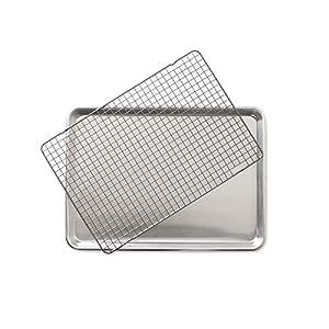 Nordic Ware 43172 2-Piece Set-Half Sheet W/Oven Safe Nonstick Grid, Aluminum