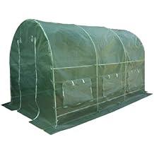 Nexos Foliengewächshaus Tomatenzelt Gewächshaus Treibhaus 9m² Grundfläche 2m x 4,5m, Höhe 2m, UV – beständige PE-Gitter Folie witterungsbeständig, 2 Eingänge, 6 Fenster, Frühbeet Tomatenhaus