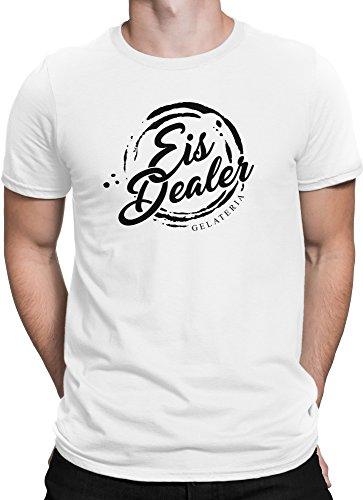 Eis Dealer Gelateria FanShirt Eiscreme / Premium Fun Motiv T-Shirt XS-5XL mit Aufdruck / Ideales Geschenk Weiß