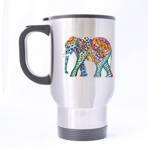 Mug personnalisé Joli Motif éléphant, 397 ML, Acier Inoxydable, Coloris Argent, Cadeau Personnalisable idéal Les fêtes Un Anniversaire