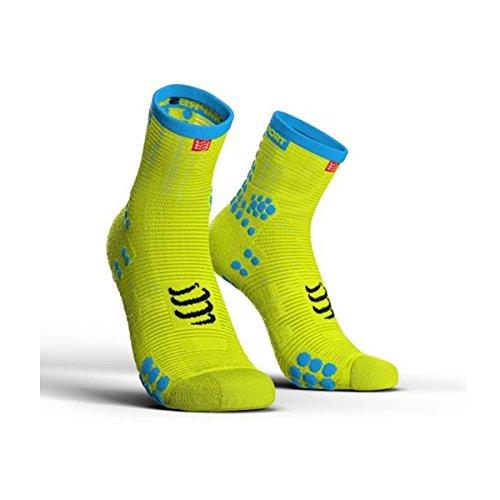 Compress port proracing Socks V3.0Run High Fluo Yellow Calcetines Calcetines Deportivos Correr, color amarillo fluorescente, tamaño T3 (42-44)