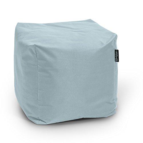 BuBiBag Sitzsack Würfel 45x45x45cm mit Füllung Cube Sitzwürfel Sitzkissen Bodenkissen Kissen Sessel BeanBag (Grau)