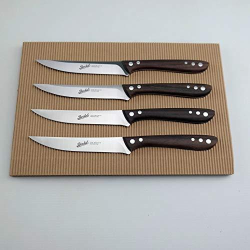 Exklusives Berkel Maxi Steakmesser Set, extra scharfe 12 cm Klinge hochwertiger Rosenholz-Griff+ von Hand gefertigtes Fassholzbrett (4 Messer)