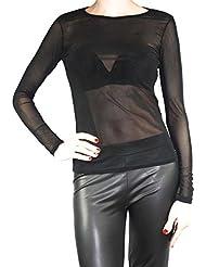 Mujer Vintage Transparente tul manga larga túnica/forma Camiseta S M L