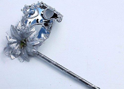 Silber Funkelnd Metallische Venezianische Maskerade Maske mit Blumen und Federn auf (Masken Stöcken Maskerade Mit)