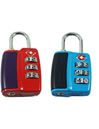 DOCOSS-Pack Of 2--552-TSA Approved Lock 3 Digit For USA International Number Locks For Luggage Bag Travelling...