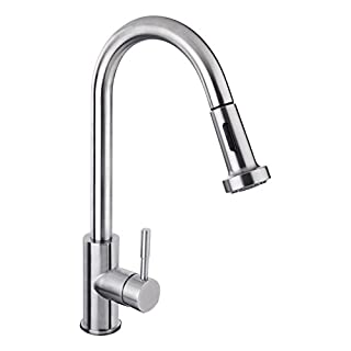 Pull Out Kitchen Tap, Hapilife Lead-free Stainless Steel Spray Spout Single Lever Sink Mixer Tap