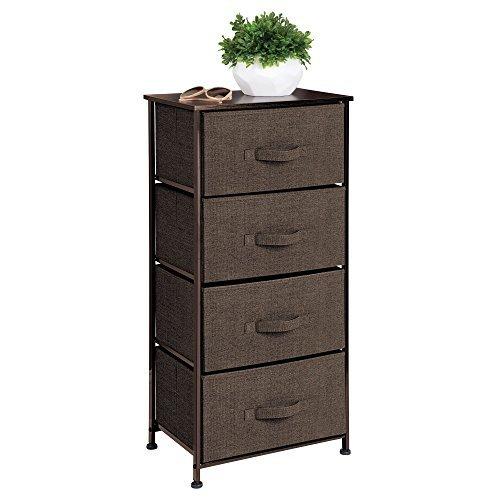 mDesign Cómoda de tela – Práctico organizador de armarios con 4 cajones – Sistema de almacenamiento estrecho para el dormitorio y salas pequeñas – marrón espresso
