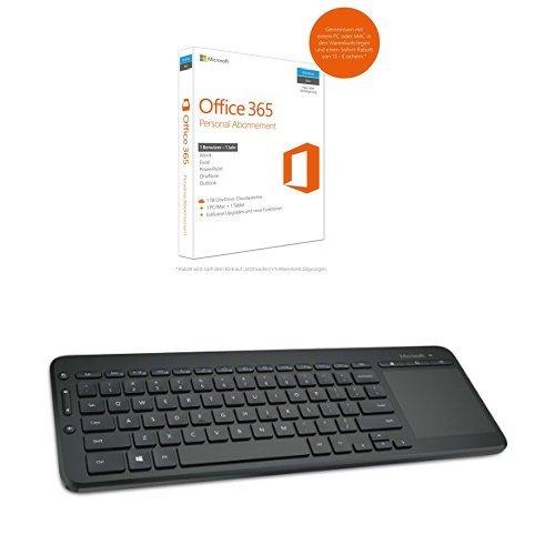 Preisvergleich Produktbild Microsoft Office 365 Personal - 1 PC/MAC - 1 Jahresabonnement - multilingual (Product Key Card ohne Datenträger) + Microsoft All-in-One Media Keyboard schnurlos schwarz (deutsches Tastaturlayout, QWERTZ)