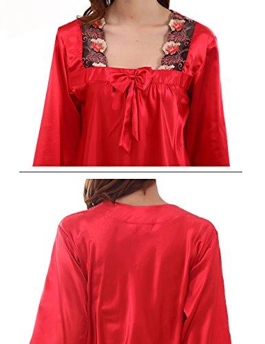 FAPIR Damen Schlafanzug Rot
