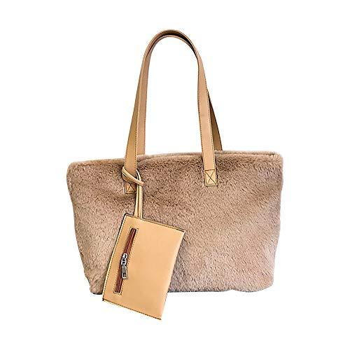 TianWlio Damen Klassische Handtasche Winged Schultertasche Groß Umhängetasche Taschen Frauen Plüsch Einfache Tasche Zweiteilige Einzelne Schulter Große Kapazität Tasche -