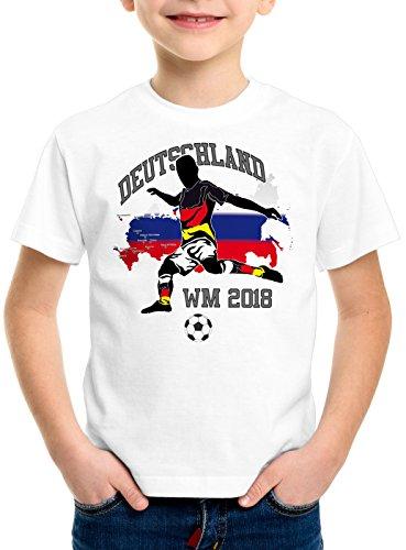 style3 WM 2018 Deutschland Kinder T-Shirt Fußball Weltmeisterschaft Trikot Germany, Farbe:Weiß, Größe:128