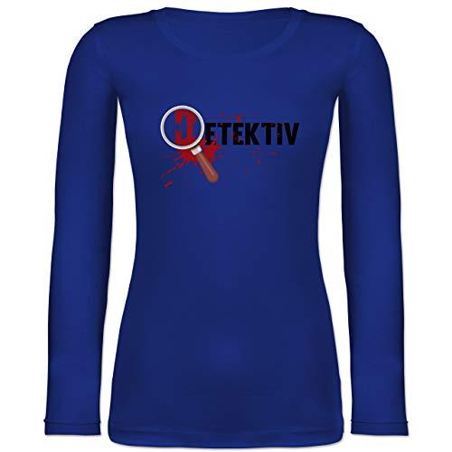 Shirtracer Karneval & Fasching - Detektiv Karneval Kostüm - S - Blau - BCTW071 - Langarmshirt Damen