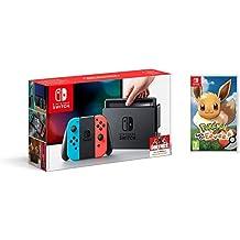 Nintendo Switch - Consola color Azul Neón/Rojo Neón + Pokémon Let's Go Eevee