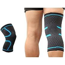 Deportes rodilleras, verano Running Fitness antideslizante hombres y mujeres transpirable fina funda de rodilla de nailon, Sky Blue,M