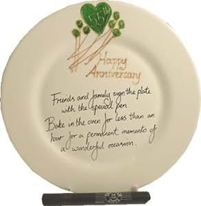 55th Matrimonio (Smeraldo) Anniversario Piatto (Fiore) (Rd)