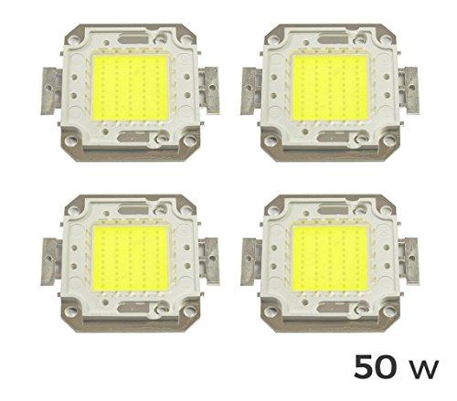 Pack 4Blutplättchen LED-Scheinwerfer LED kaltweiß 6500K-50Watt. MWS