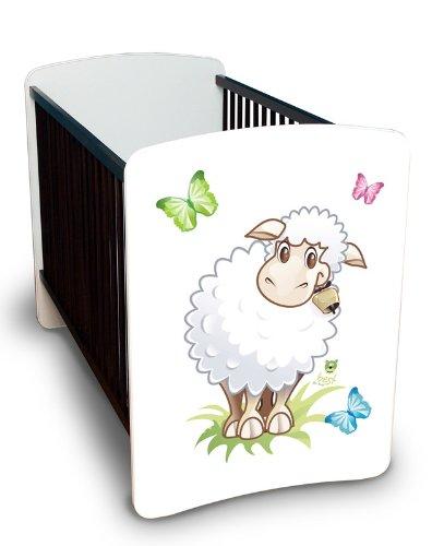 Preisvergleich Produktbild Best For Kids Gitterbett Julia - MEGA Set mit höhenverstellbar, Wandsticker und Schaumstoffmatratze 60x120 cm Design - Little Sheep