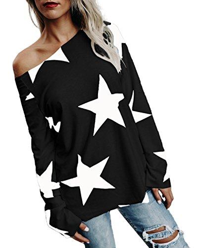 StyleDome Damen Shirt Schulterfrei Herbst Langarm Tops Sterne Drucken Asymmetrisch Jumper Locker Bluse Pullover Schwarz M (Spandex Sterne)