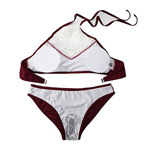 DELEY Damen Mädchen Aushöhlen Spitzen Häkeln Vintage Bikini Triangle Brasilianische Bademode Schwimmen Badeanzug Badebekleidung Rot