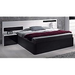 Habitdesign 0T6082BO - Cabezal cama matrimonio y mesitas de noche, color Blanco y Negro Brillo, medidas: 257 x 92 x 34 cm (fondo).